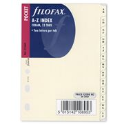 Filofax - Pocket Cream A-Z Two Letter Index Tabs Refill