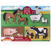 Melissa & Doug - Fresh Start Farm Peg Puzzle 8pce