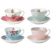 Royal Albert - Vintage Mix Teacup & Saucer Set 8pce
