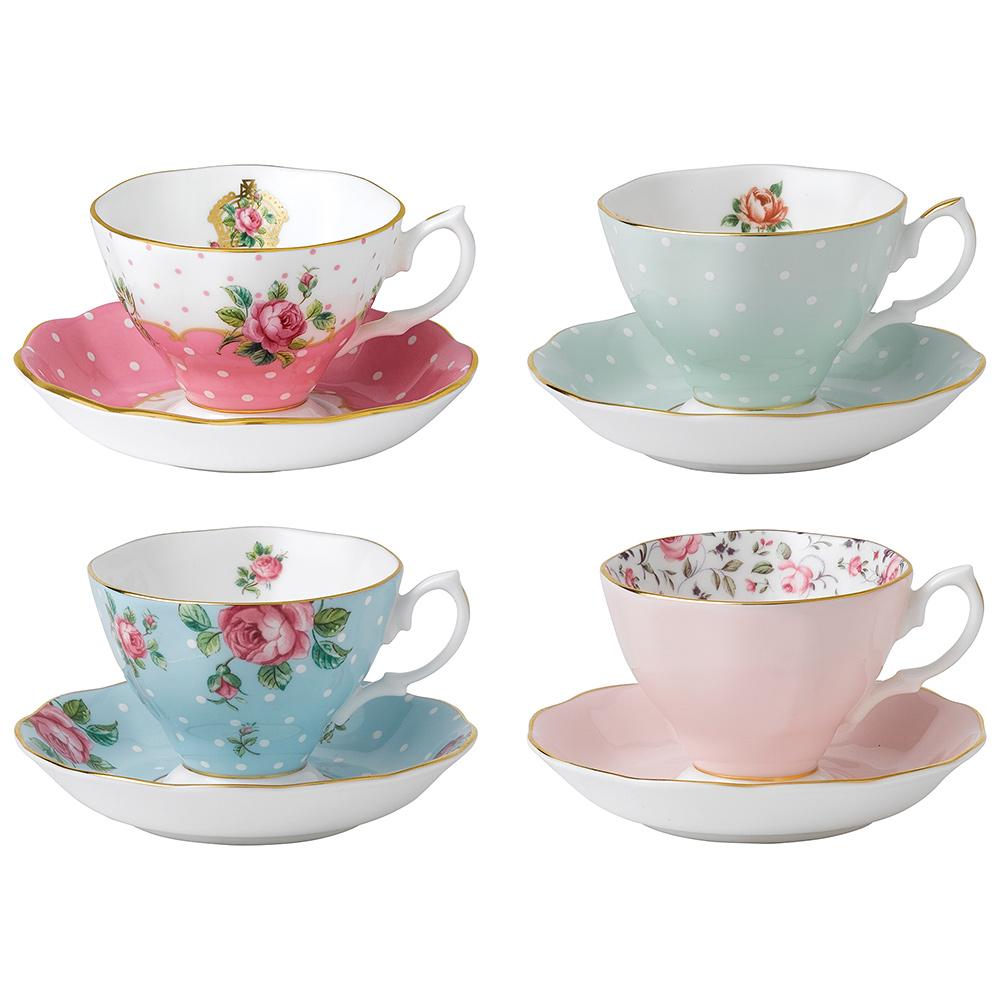 royal albert vintage mix teacup saucer set 8pce peter 39 s of kensington. Black Bedroom Furniture Sets. Home Design Ideas