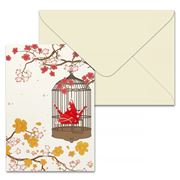 Short Story - Red Blossom Crane On Cage Greeting Card