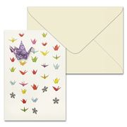 Short Story - Rows Of Colour Cranes Greeting Card