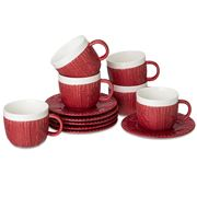 Yedi - Sweater Red Espresso Cup & Saucer Set 12pce