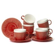 Yedi - Sweater Red Teacup & Saucer Set 12pce