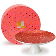 Yedi - Polka Dot Red Footed Cake Plate