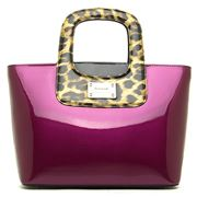 Serenade Leather - Darlene Leopard Print Violet Handbag