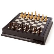 Renzo - Brown Crocodile Print Leather Chess & Backgammon Set
