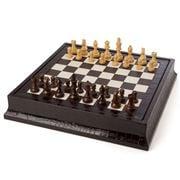 Renzo - Brown Crocodile Print Leather Chess & Backgammon Set