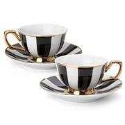 Cristina Re - Age of Elegance Petite Ebony Stripe Teacup Set