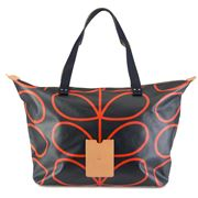 Orla Kiely - Etc Linear Stem Navy Shopping Bag