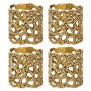 Oscar de la Renta - Gardenia Brass Napkin Ring Set 4pce