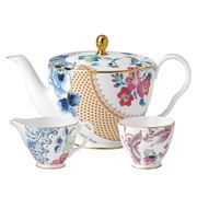 Wedgwood - Butterfly Bloom Teapot, Sugar & Cream Set