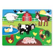 Melissa & Doug - Farm Animals Peg Jigsaw Puzzle 7pce