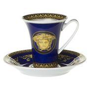 Rosenthal - Versace Medusa Blue Espresso Cup & Saucer Set