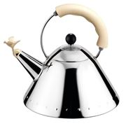 Alessi - Michael Graves White Ivory Kettle with Bird Whistle