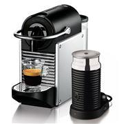 DeLonghi - Nespresso Pixie Silver Coffee Machine & Aeroccino