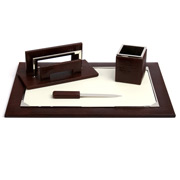 Renzo - Brown Thesius Leather Desk Set 4pce