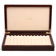 Renzo - Brown Crocodile Print Leather Box for Twelve Pens