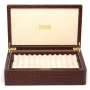 Renzo - Brown Crocodile Leather Pen Box for 24 Pens