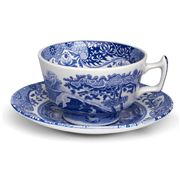 Spode - Blue Italian Teacup & Saucer Set