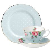 Royal Albert - Polka Blue Teacup, Saucer & Plate