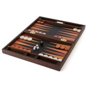 Renzo - Crocodile Leather Brown Backgammon Set