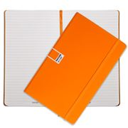 Pantone - Flame Orange Large Ruled Elastic Band Notebook