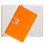 Pantone - Flame Orange Pocket Grid Elastic Band Notebook
