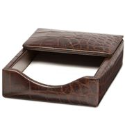 Redd Leather - Crocodile Print Choc Leather Notepad Holder