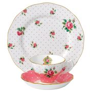Royal Albert - Cheeky Pink Vintage Teacup Saucer & Plate Set