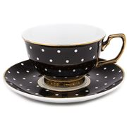 Cristina Re - Age of Elegance Ebony Polka Teacup & Saucer