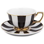 Cristina Re - Age of Elegance Ebony Stripes Tea Cup & Saucer