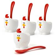 Gourmet Kitchen - Doodle Doo Egg Cups & Spoons Set 4pce