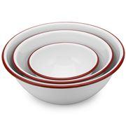 Falcon - Enamel Mixing Bowls White & Red Set 3pce