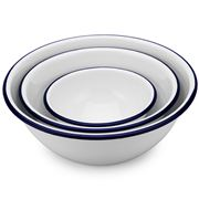 Falcon - White & Blue Enamel Mixing Bowl Set 3pce