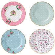 Royal Albert - Vintage Mix Tea Party Small Plate Set 4pce