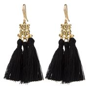 Bowerhaus - Black Tassel Earrings with Gold Hooks