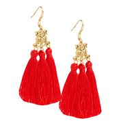 Bowerhaus - Red Tassel Earrings with Gold Hooks